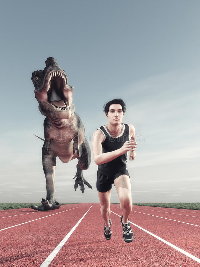 A man and a dinosaur running. An athlete and a dinosaur running on a running track. This is a 3d render illustration stock photos