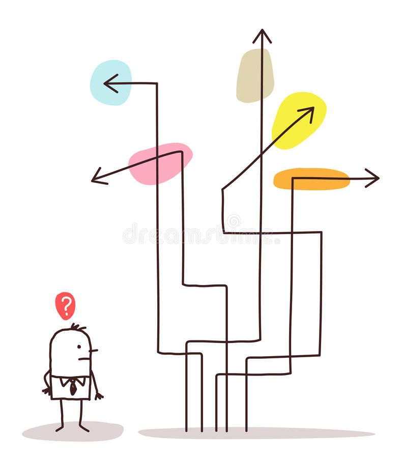 Man & direction arrows stock illustration