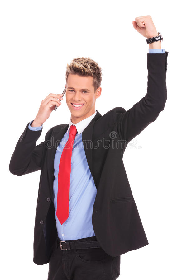 Download Man Discussing On A Cell Phone And Winning Royalty Free Stock Photography - Image: 28551167