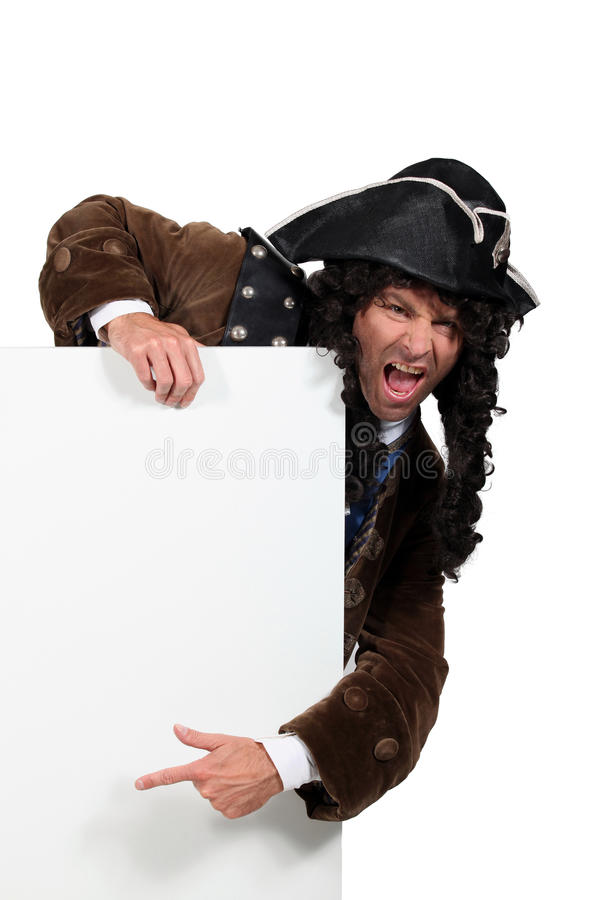 Man disguised as a pirate. Or man from the 16 th or 17 th century stock photo