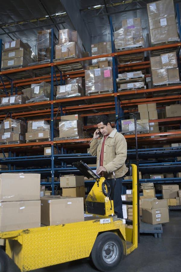 Man At Distribution Warehouse stock photography