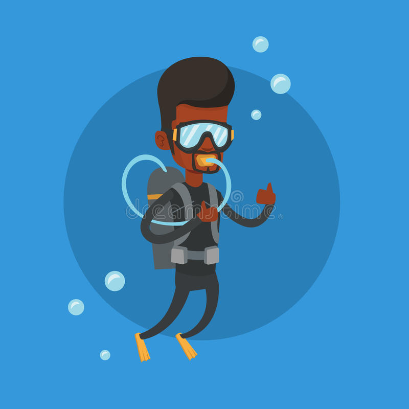 Man diving with scuba and showing thumb up. royalty free illustration
