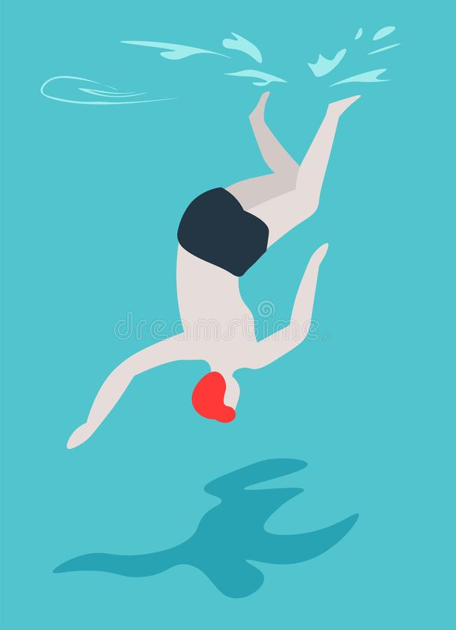 Man diving in swimming pool swimmer in trunks summer outdoor activity vector illustration