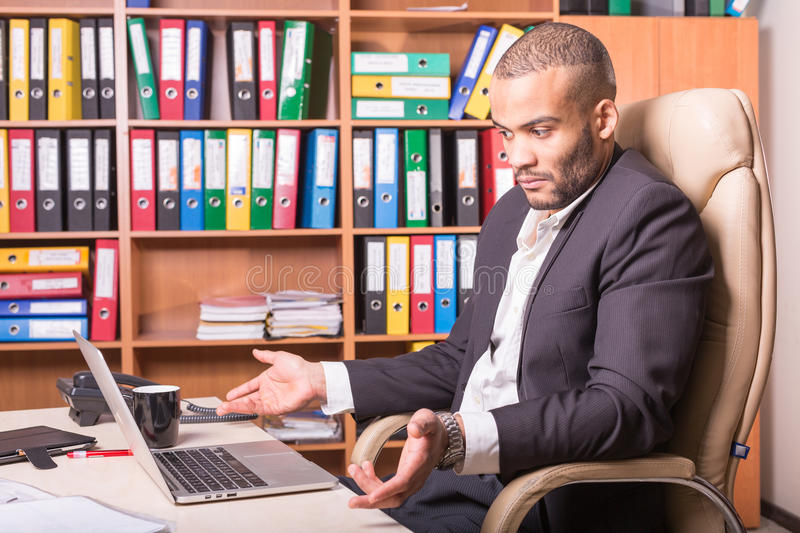 Man do not understand what was happened with laptop stock photos