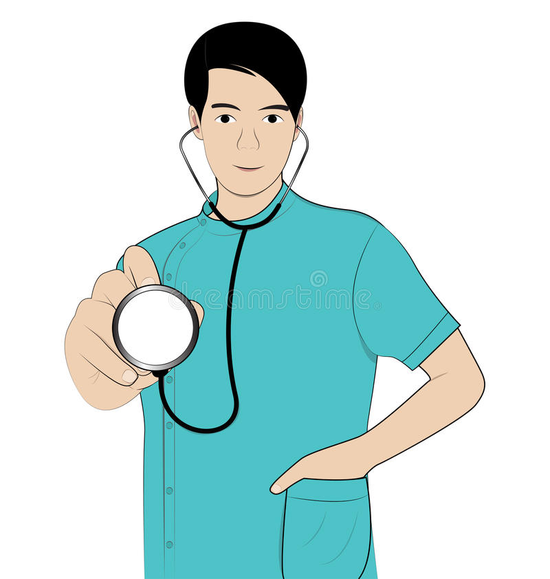 Man doctor blue shirts. Man doctor hold Stethoscope on white background royalty free illustration