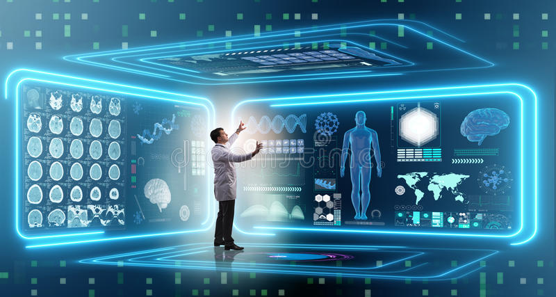 The man doctor in futuristic medicine medical concept royalty free stock images
