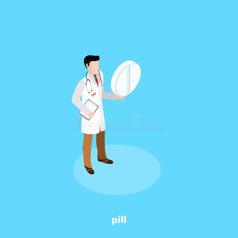A man in a doctor`s clothes holds a pill royalty free illustration