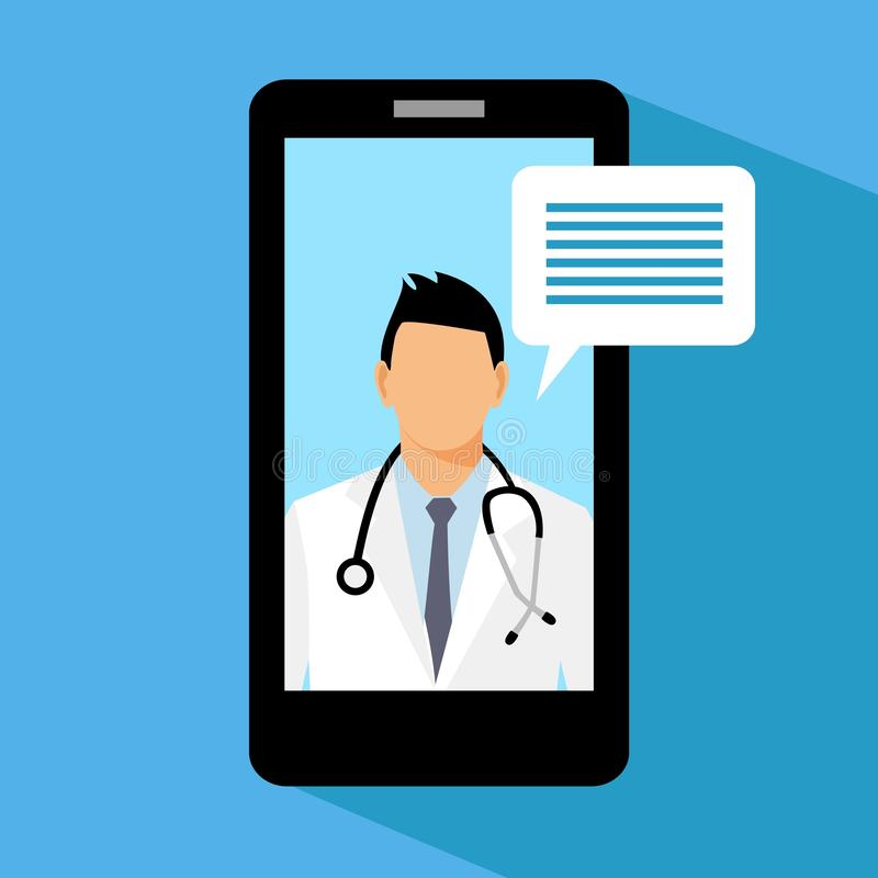 Man doctor with stethoscope on the screen, concept of online diagnostics, vector illustration in flat style. Smartphone medical application. mobile phone with stock illustration