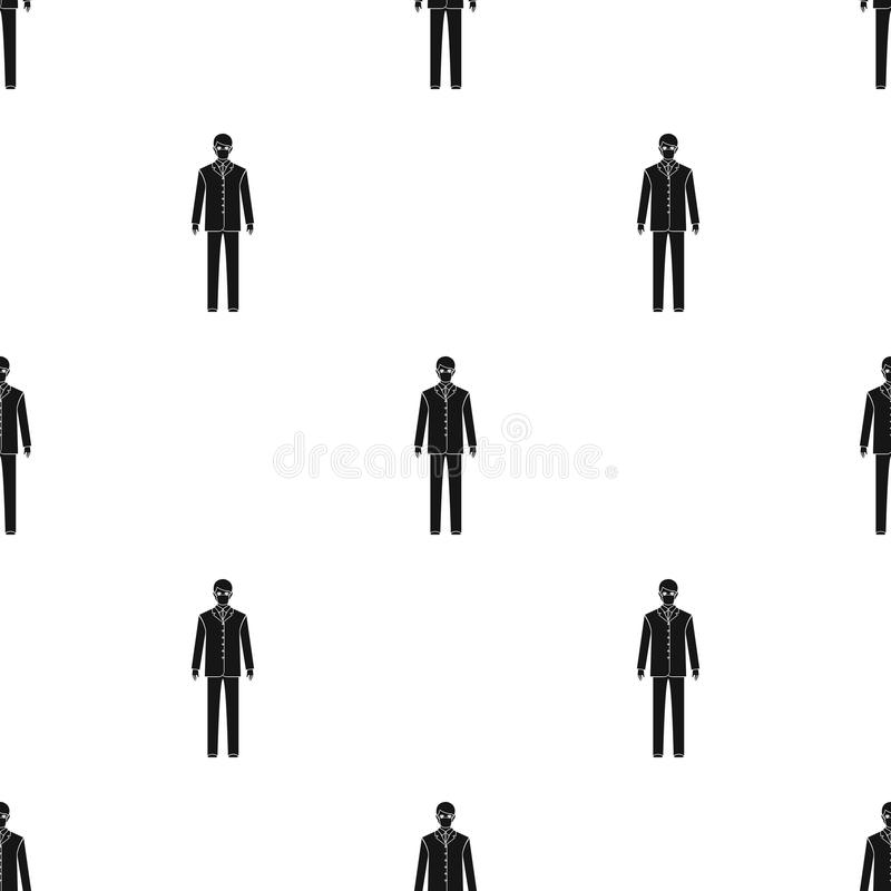 The man is a doctor in uniform and a protective mask. The medicine single icon in black style vector symbol stock stock illustration