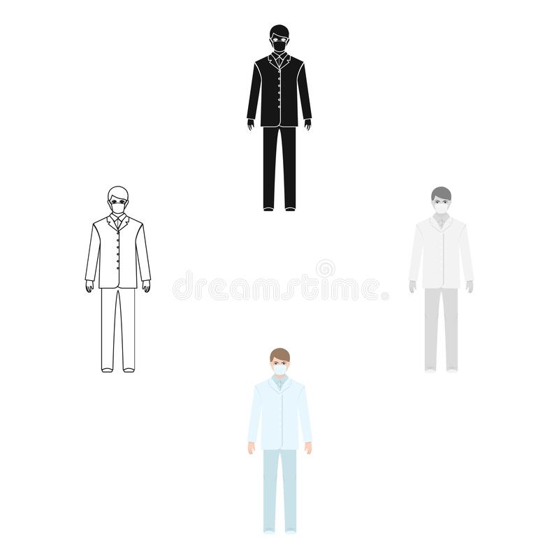 The man is a doctor in uniform and a protective mask. The medicine single icon in cartoon style vector symbol stock royalty free illustration