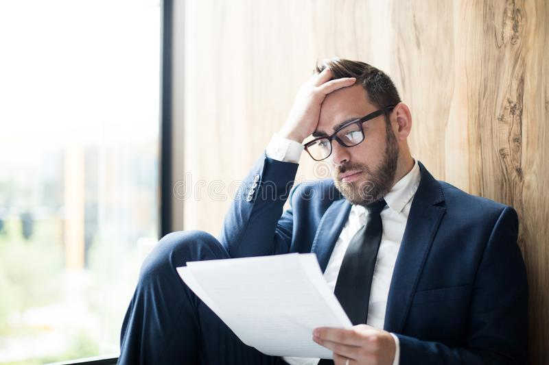 Man with documents stock photo