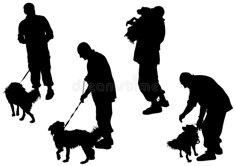 Download Man and dog stock vector. Image of silhouette, vector - 14824770