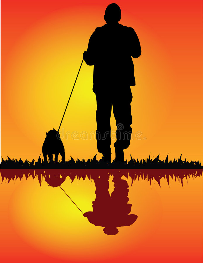 Download Man and dog stock vector. Image of positive, health, active - 4508544