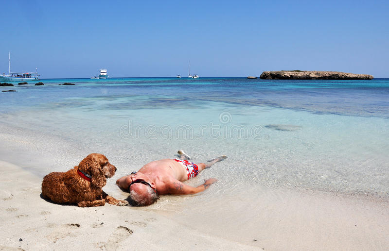 A Man And A Dog royalty free stock image