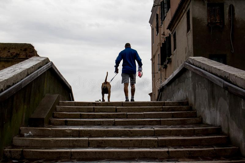 Man with dog in Chioggia stock photo
