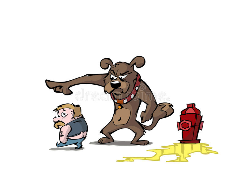 Man, dog and fire hydrant. A dog scolding a man over using the fire hydrant royalty free illustration