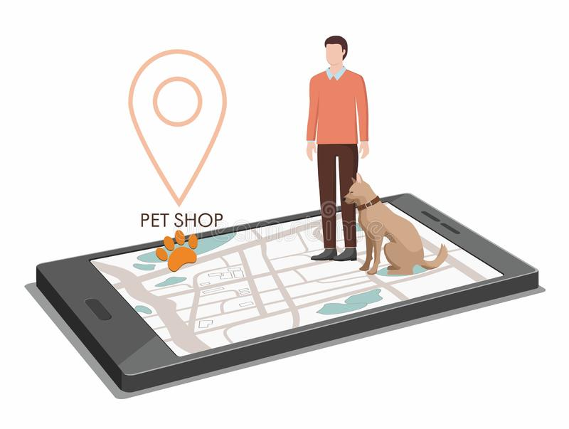 Man with a dog go to the pet store, gps navigator on phohe stock illustration