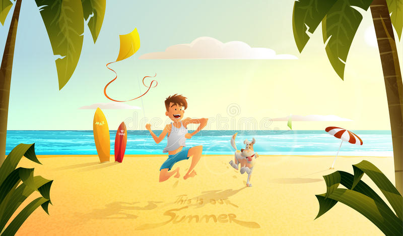 Man and dog. The guy with the dog running along the beach vector illustration