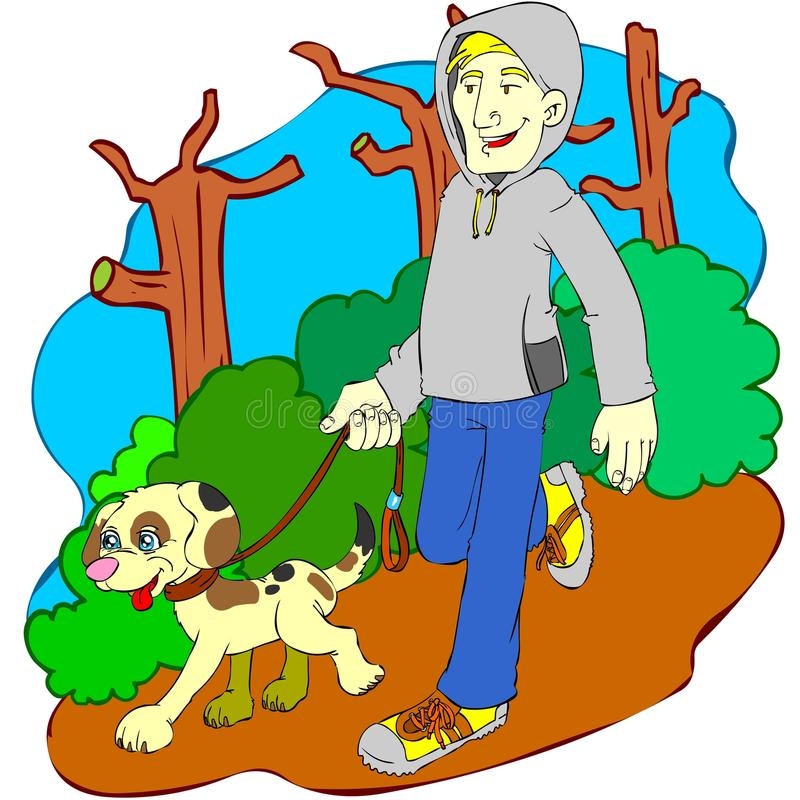Man and dog jogging in the nature royalty free stock photos