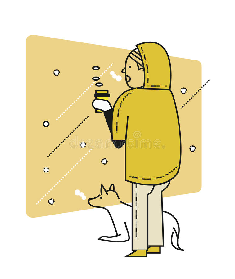Man with a dog looking outside, snow scene, cold weather. Flat thin line character design. vector illustration royalty free illustration