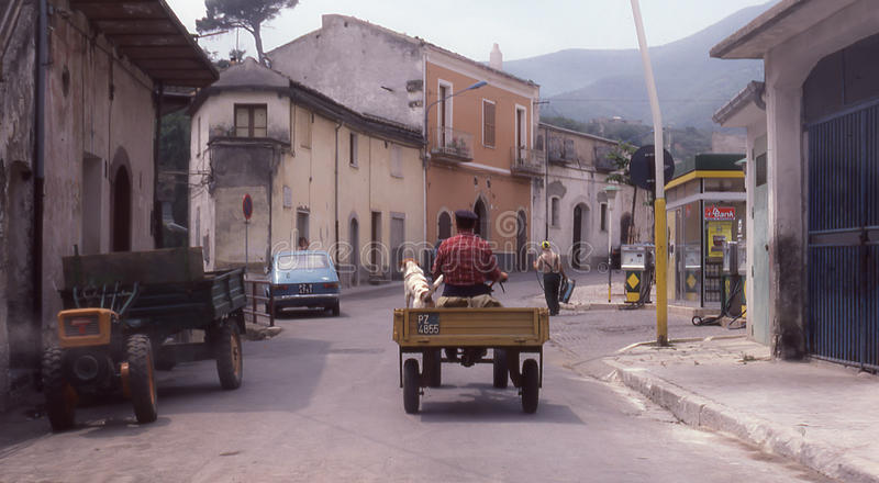 Man and dog riding tractor in Italy. Man and dog riding tractor through a small town in Calabria in Italy stock photography