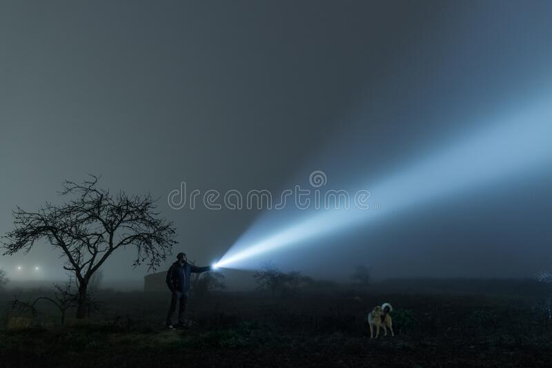 Man and dog searching with flashlight in outdoor royalty free stock photos