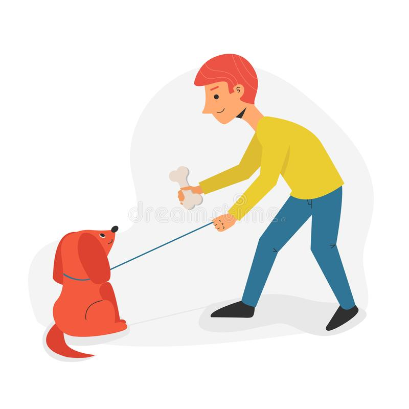 Man and dog walking together. Man holding bone in his arm. Flat cartoon character concept illustration of people with vector illustration