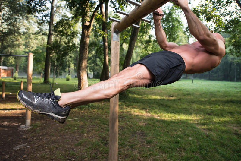 Man Doing Chin Ups A Street Workout stock images