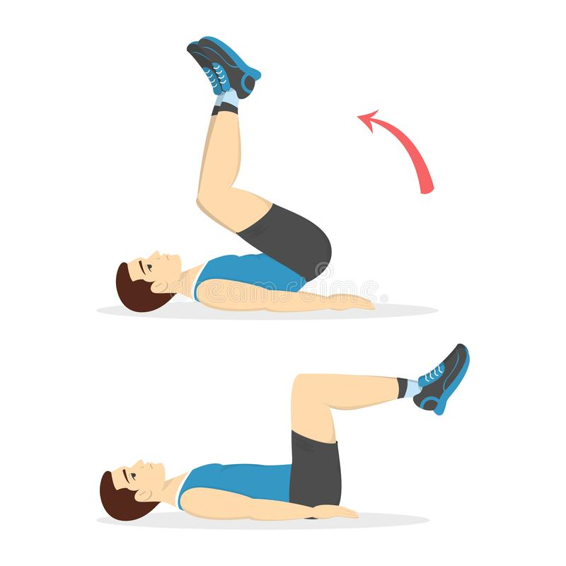 Man doing crunches in the gym. Belly burn. Workout. Guy make exercise. ABS workout. Healthy and active lifestyle. Isolated vector illustration stock illustration