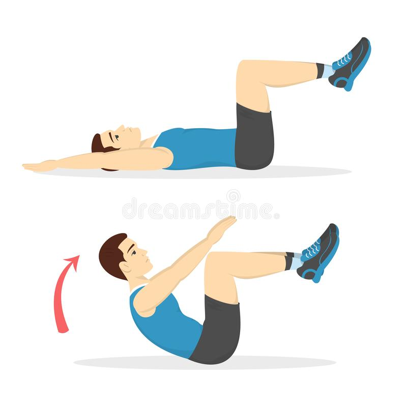 Man doing crunches in the gym. Belly burn. Workout. Guy make exercise. ABS workout. Healthy and active lifestyle. Isolated vector illustration royalty free illustration