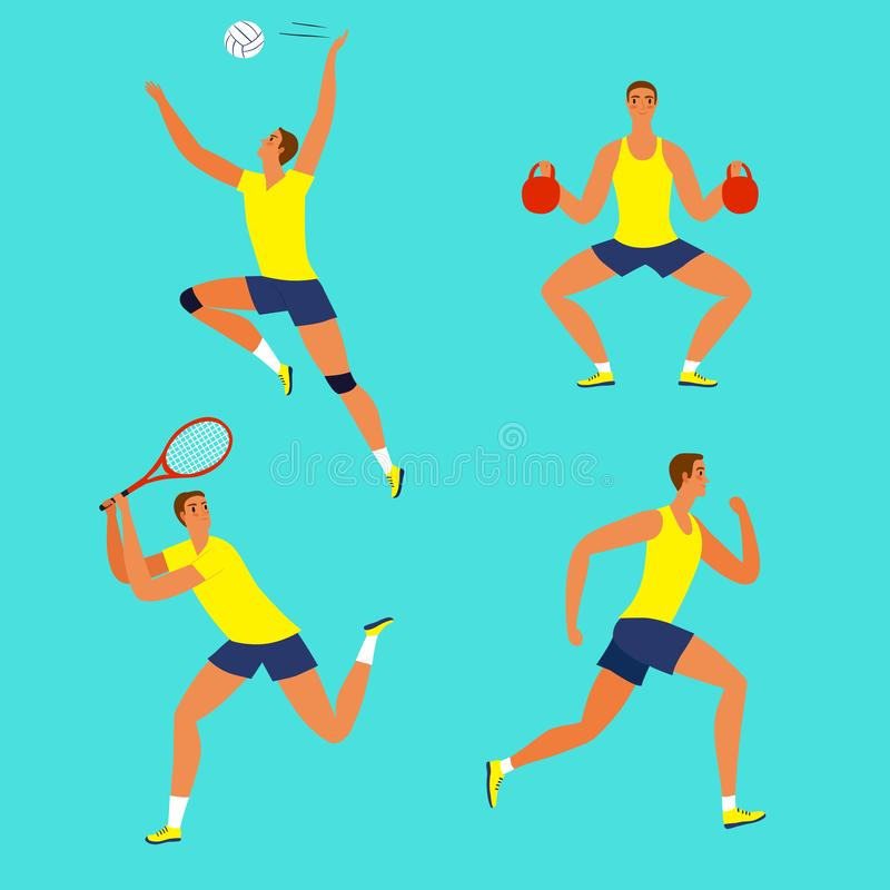 Man doing different kinds of sport: volleyball, tennis, fitness, run. Dynamic man doing sport exersises. Set of different kinds of sport: volleyball, tennis vector illustration