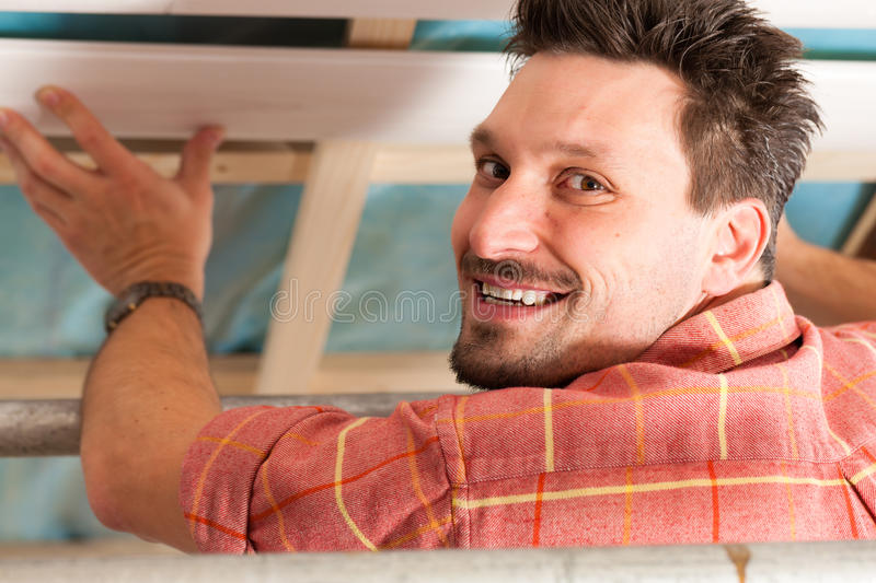 Download Man Doing Dry Walling, Working Stock Image - Image: 18844311