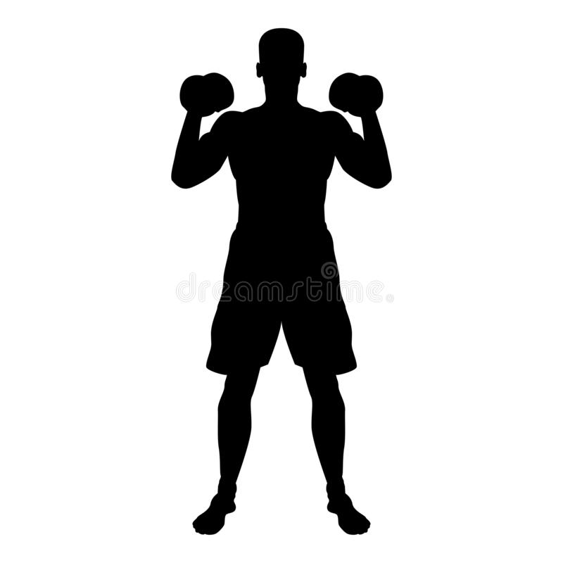 Man doing exercises with dumbbells Sport action male Workout silhouette front view icon black color illustration. Man doing exercises with dumbbells Sport action vector illustration