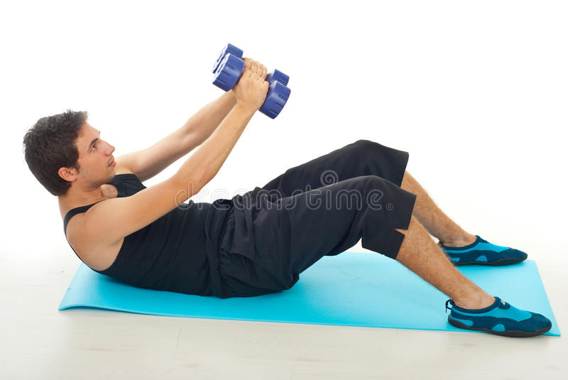 Man doing fitness with barbell royalty free stock images