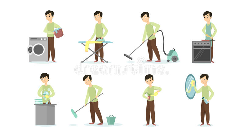 Man doing chores. Man doing household chores on white background. Cleaning and ironing, cooking and vacuum cleaning stock illustration