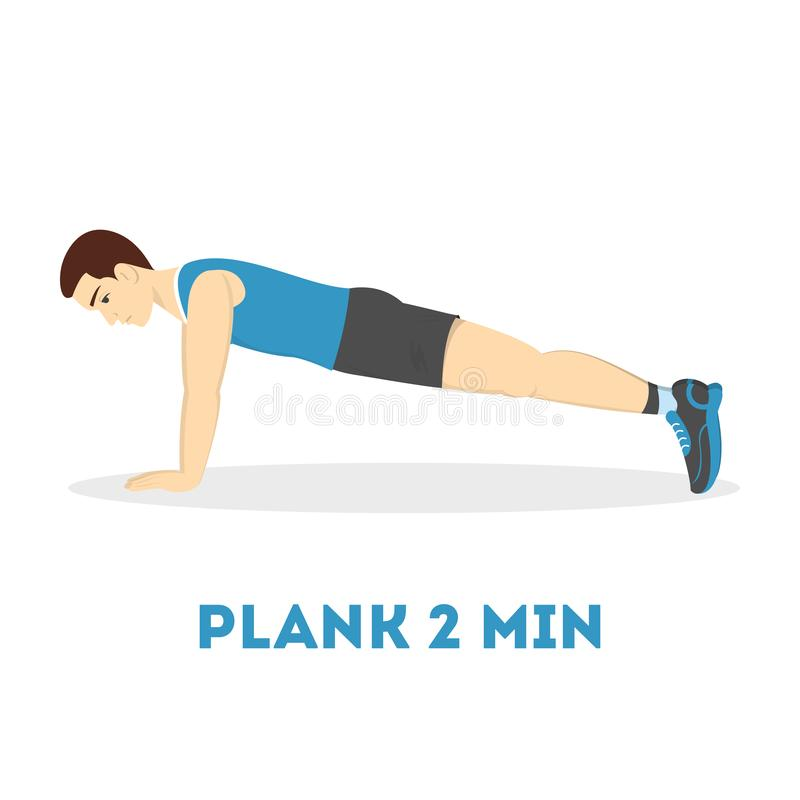 Man doing plank in the gym. Belly burn. Workout. Guy make exercise. ABS workout. Healthy and active lifestyle. Isolated vector illustration stock illustration