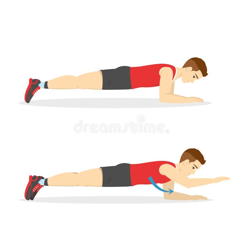 Man doing plank in the gym. Belly burn. Workout. Guy make exercise. ABS workout. Healthy and active lifestyle. Isolated vector illustration royalty free illustration
