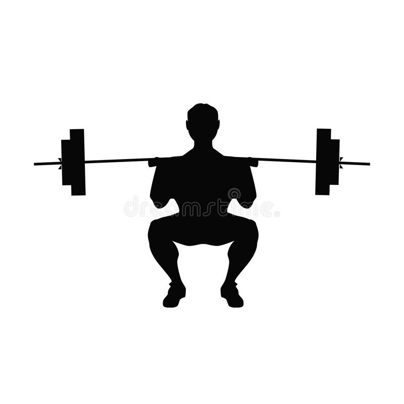 Man doing weight lifting. stock illustration