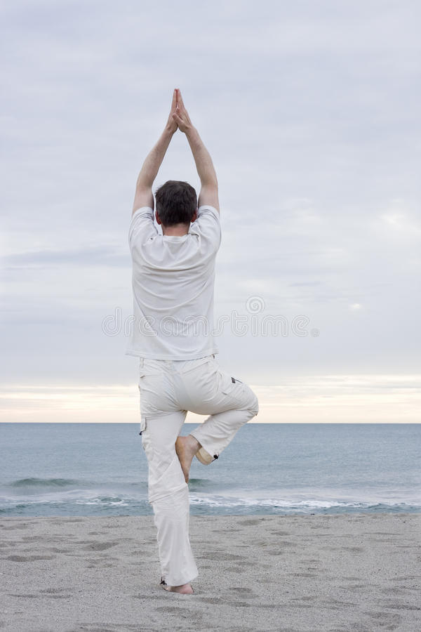 Download Man doing yoga on beach stock photo. Image of peaceful - 9465792