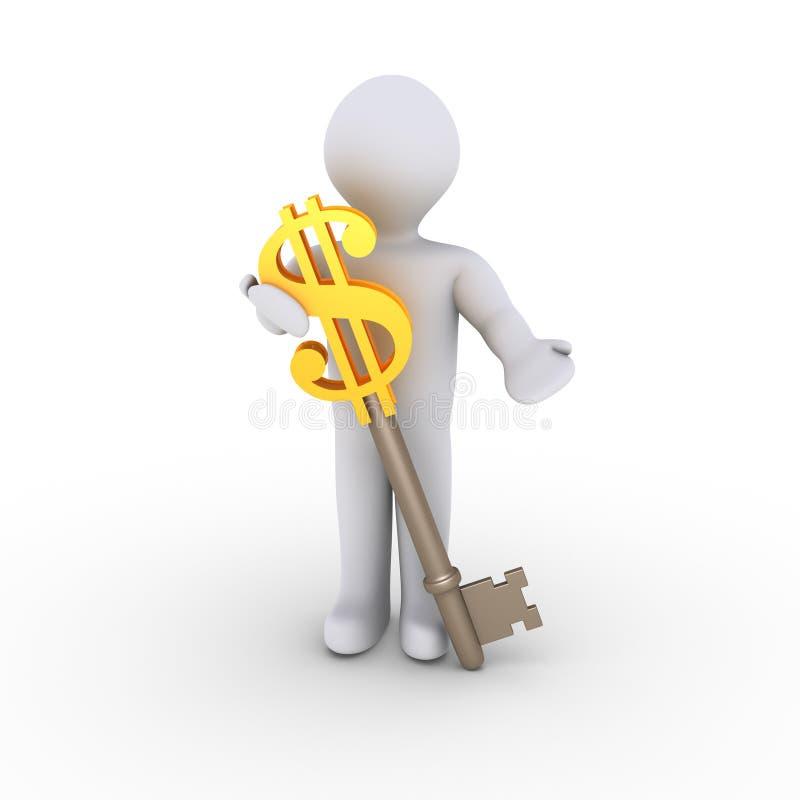 Download Man with dollar-key stock illustration. Illustration of offer - 23358948
