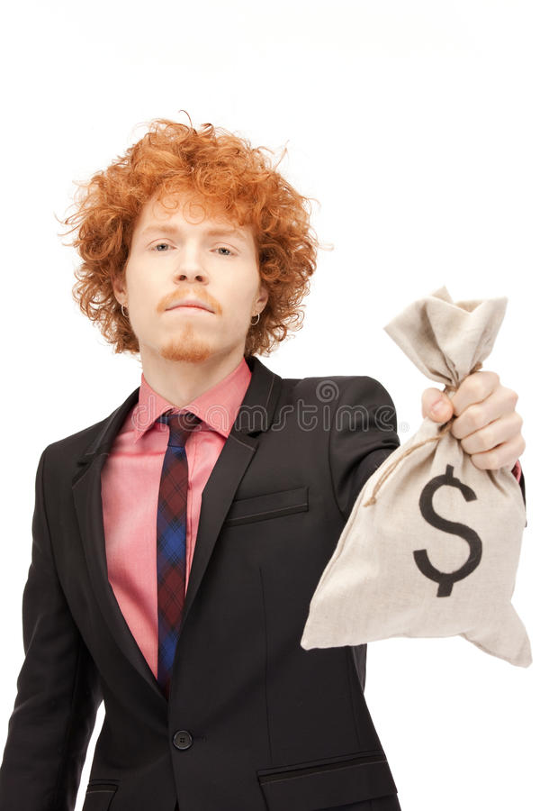 Man with dollar signed bag royalty free stock image