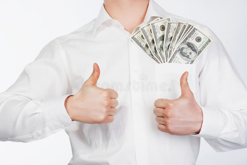 Man with dollars stock photo