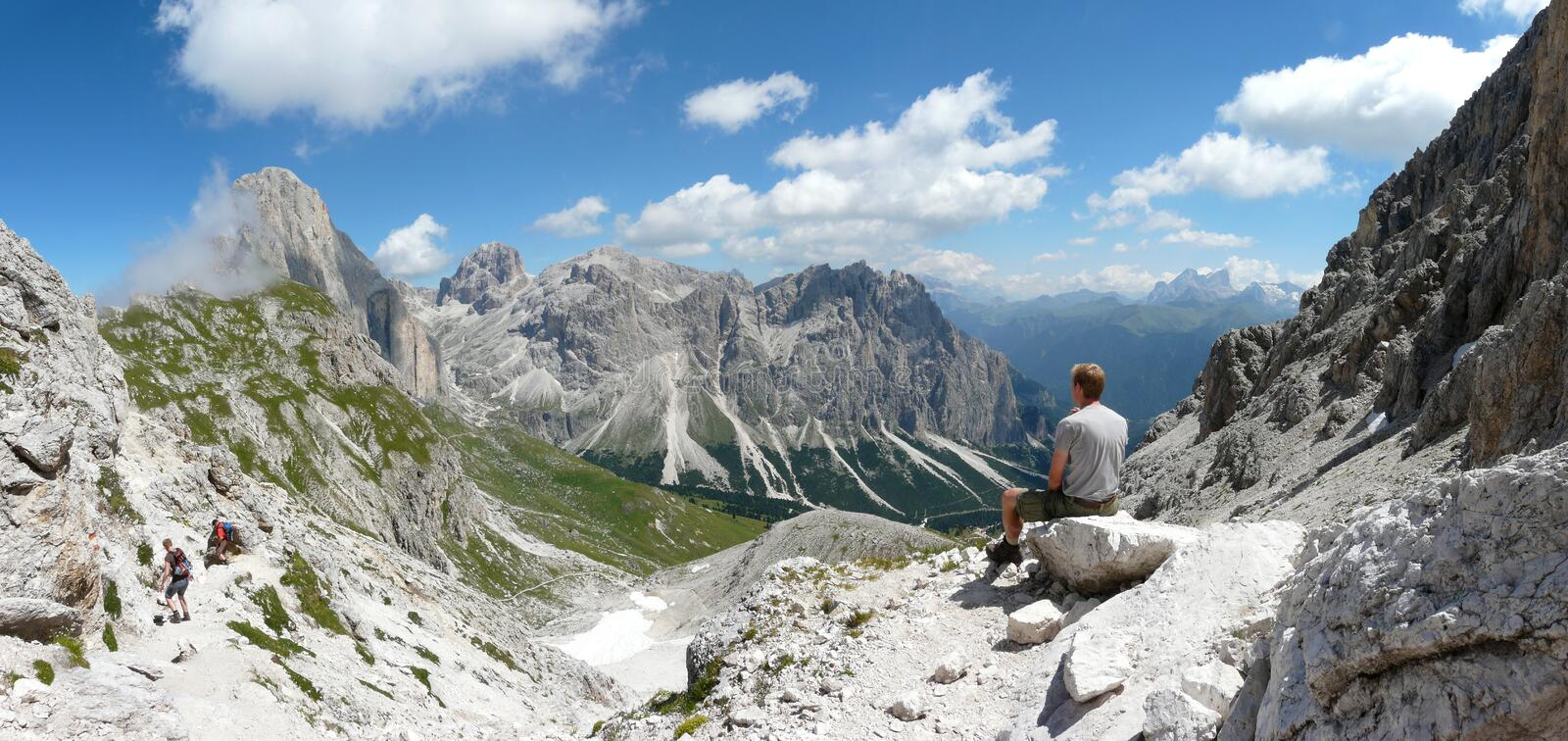Download Man And Dolomite Mountain View Stock Image - Image of panoramic, dolomite: 12265055
