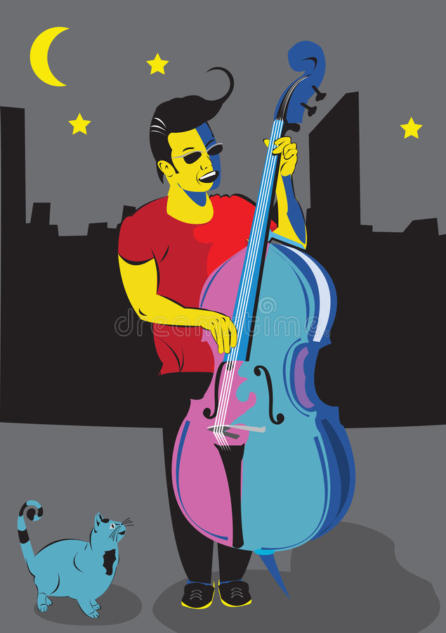 Man with double bass. Vector illustration of a man playing the double bass, and singing on the street, and a cat looking at him stock illustration
