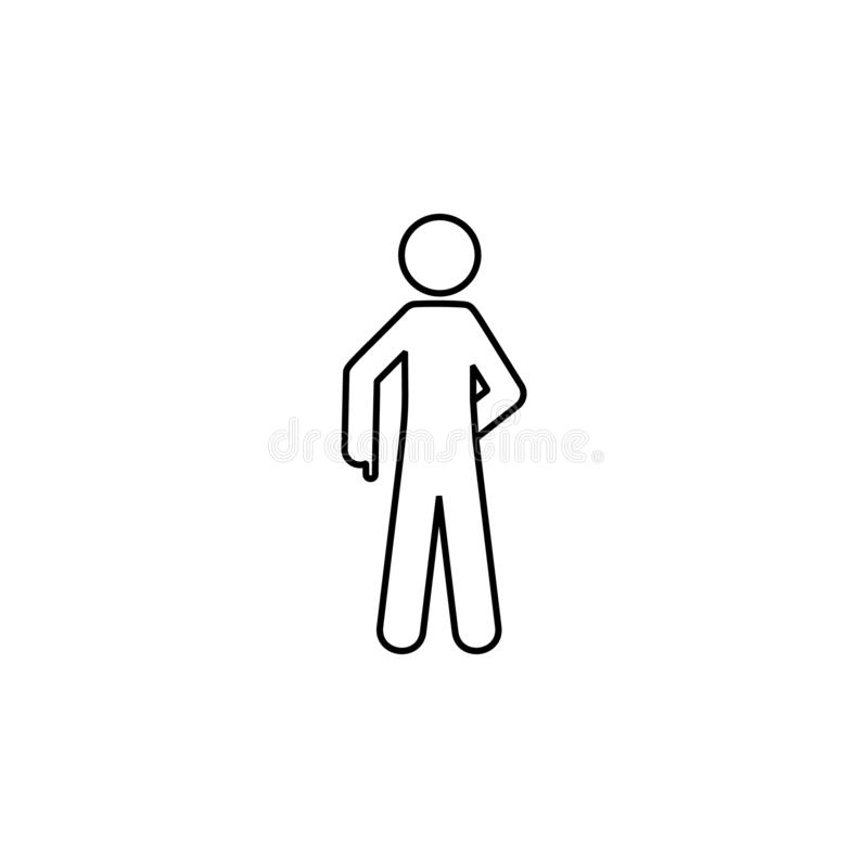 Man down, show icon. Element of man pointing finger thin line icon. On white background vector illustration