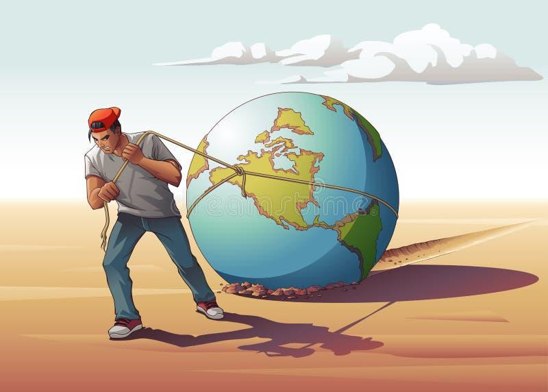 Download Man Dragging Globe stock vector. Illustration of global - 106686737