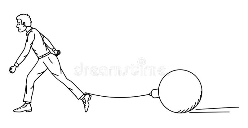 A man is dragging a load tied to his leg. Vector royalty free illustration