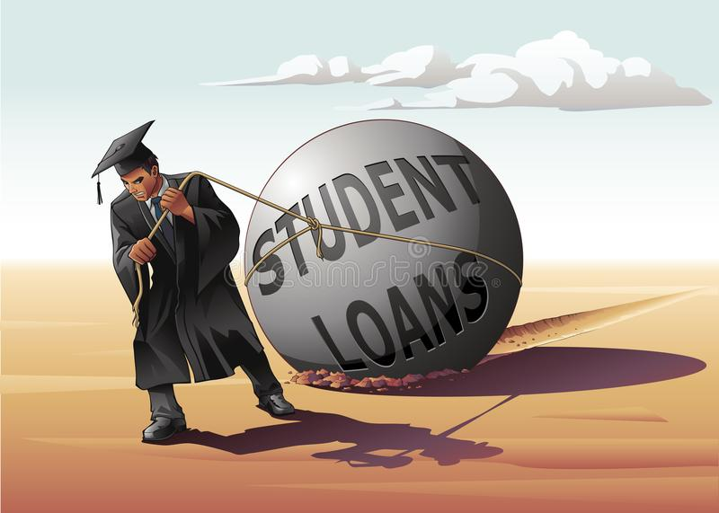 Download Man Dragging Student Loans stock vector. Illustration of alone - 106885117
