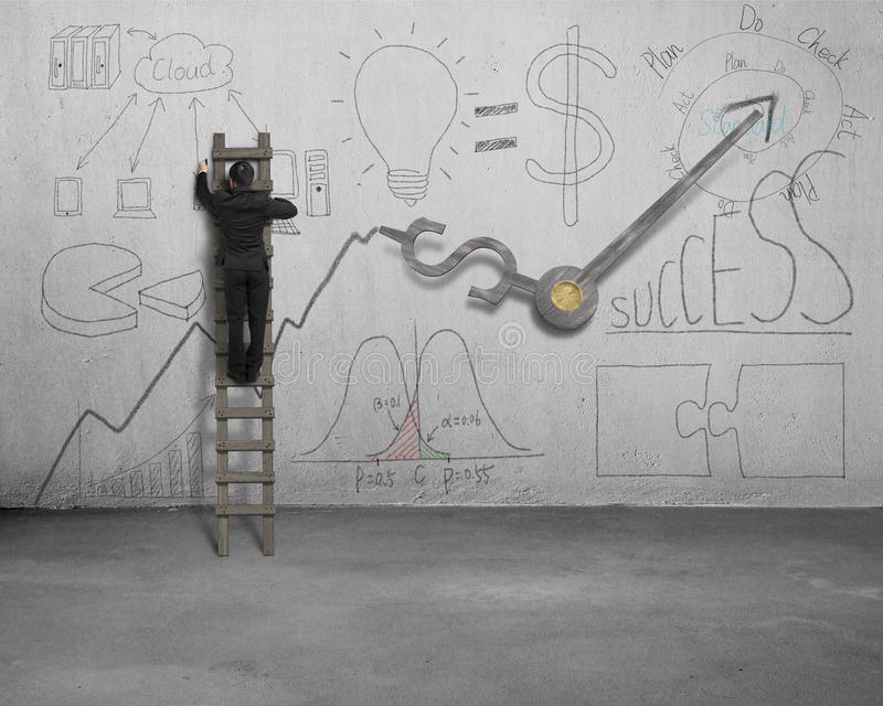 Man drawing business concept doodles on wall stock illustration