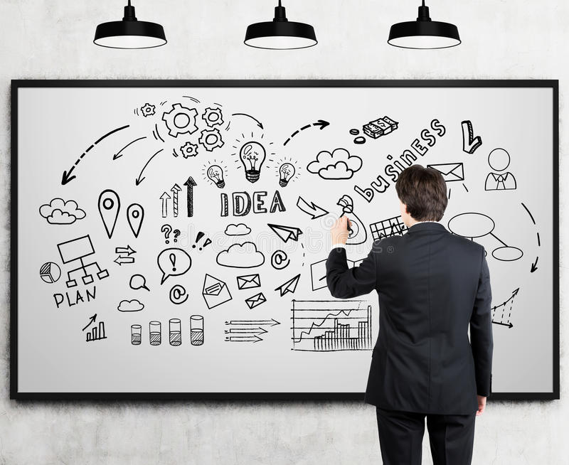 Man drawing business idea doodles on whiteboard. Rear view of a businessman standing near a whiteboard and drawing a business idea sketch with a marker. Concept royalty free stock image